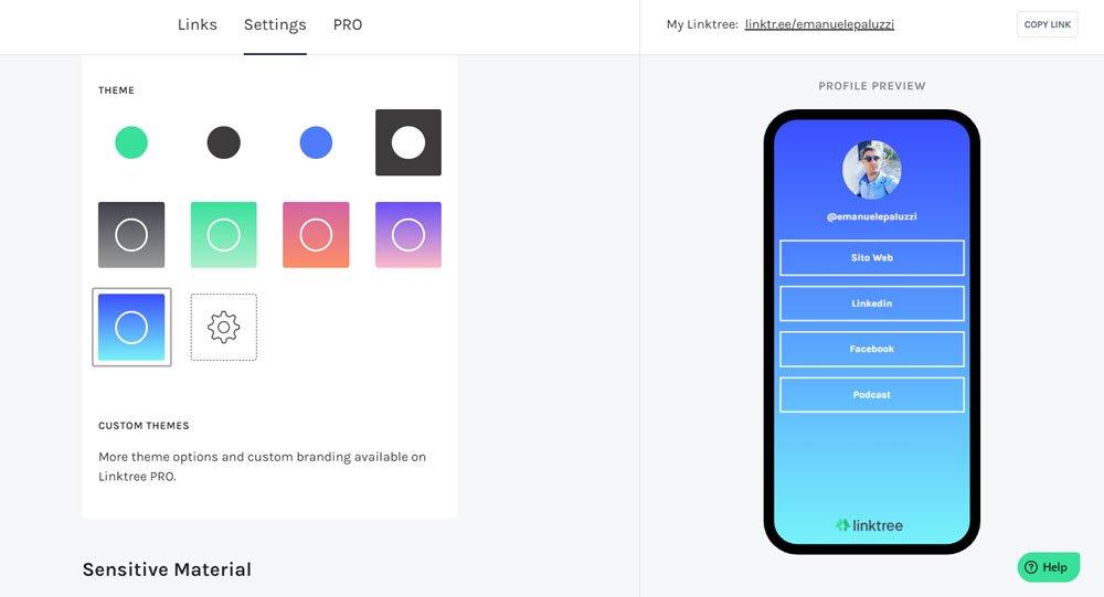 linktree ti permette di modificare il tuo sfondo per renderlo più gradevole per i tuoi utenti